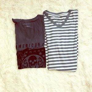 2 v neck t shirts. One express, one Kenneth Cole